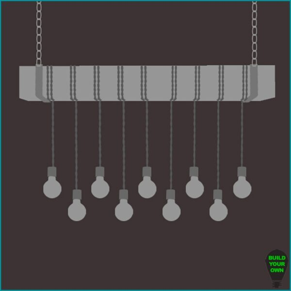Build Your Own Faux Beam Chandelier - 9 Bulbs