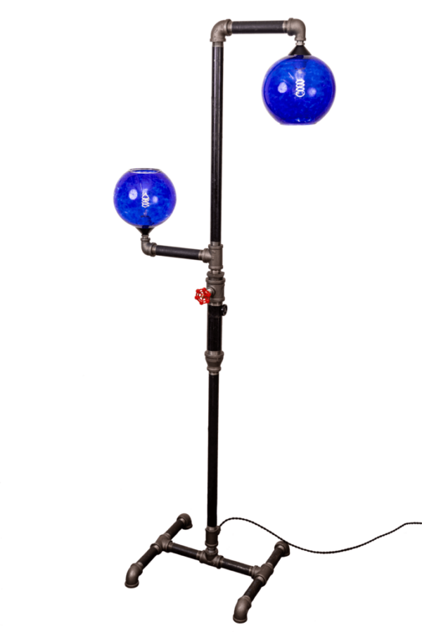 Floor Lamp with Blue Swirl Globe Glass Shades